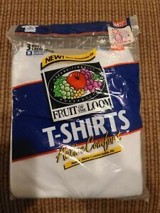 NEW 1996 VINTAGE Fruit Of The Loom Boys 3 Pack Active Comfort Tees M White (O)
