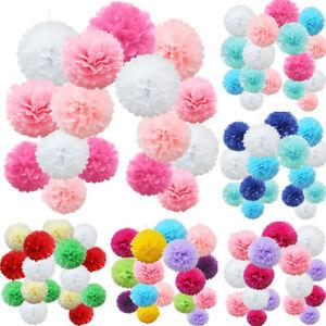 16 PACK Tissue Paper Pompoms Pom Poms Fluffy Flower Wedding Party Hanging Decor