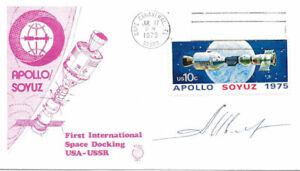 #1569  Apollo Soyuz Frederick Bean Cachet w/Astronaut Auto 1st Day Cover w/FDC