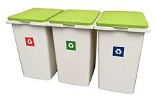 3 x 45 litro di riciclaggio dei rifiuti ordinamento bucato in plastica scatole Contenitori + coperchi a cerniera!