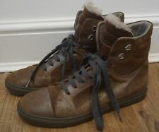 BRUNELLO CUCINELLI Brown Shimmer Leather Lace Fastened Sheepskin Trim Boots UK7