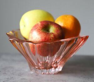 "Crystal Bowl 8 "" Bohemia Pink Vase Czech Glass Fruit Desert Sweets Gift NEW"