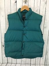 Lands End Unisex Green Puffer Down Vest Jacket Snap Front Size M Medium