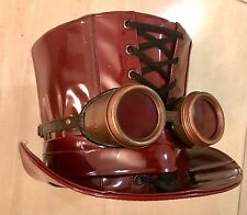 Steampunk Ox Blood Pvc Top Hat Size 58cm With Goggles