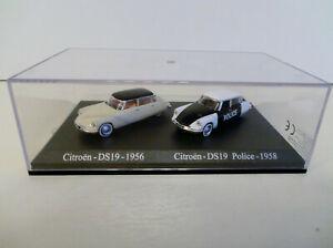 Voiture miniature coffret Duo Citroen DS 19 1956  Police DS19 1958 Atlas au 1/87