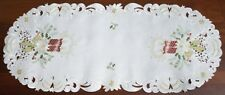 "CHRISTMAS CANDLES OVAL TABLE RUNNER 14"" X 34"" ~ COUNTRY EMBROIDERY AND LACE"