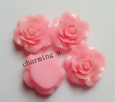 3pz abbellimenti fiore  CABOCHON in resina  Scrapbooking 20x8mm colore rosa