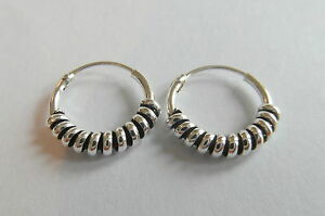 Pair Of Sterling Silver Bali Barbed  Hoop Earrings 12  mm  !!     New !!