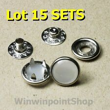 Lot 15 Sets 11mm (7/16') Popular Glossy White Pearl Fastener Snap Button