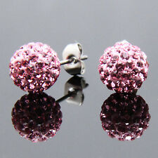 Muti-colors Sparkle Round Czech Crystal Disco Ball Stud Earrings Wedding Party