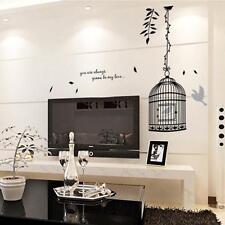 Elegante Jaula De Pájaro Casa Moderna Mural Calcomanía Pared Adhesivo Calcomanía de pared removible Hágalo usted mismo