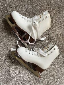 Children's Graf Davos Gold Figure Ice Skates, EU Size 29, UK Size jr 11