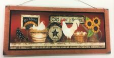 rooster sunflowers count your blessings country kitchen farmhouse sign 5x11 in