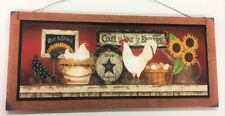 rooster sunflowers count your blessings country kitchen farmhouse decor sign
