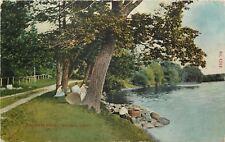 Wabasha Minnesota~Victorian Ladies & Gents Picnic~Wisconsin Shore~1911 Postcard