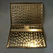 Vintage Black Leather Gold Engine Turned Metal Cigarette Case Made Switzerland
