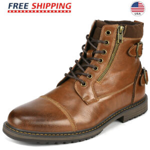 Bruno Marc Men's Combat Motorcycle Boots Oxford Dress Boot Lace Up Shoes Size US
