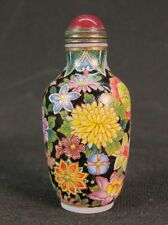 Nice Chinese Chrysanthemum Hand Painted Peking Enamel Glass Snuff Bottle
