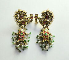 Vintage antique 20K Gold Diamond polki handmade jewelry earring pair india
