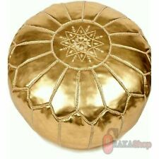 Genuine Gold Leather Pouf Leather Boho Ottoman Footstool chairs,living room