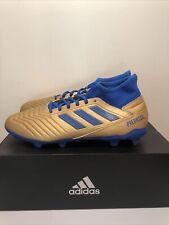 Adidas Men's Size 12 Predator 19.3 Fg Soccer Cleats Gold/ Blue