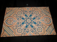 Martex STD Pillowcase Pair No Iron Percale Blue Brown Cream Paisley Floral Vintg