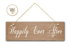 "Happily Ever After Sign, 5.5"" x 17"" Wood Sign, Rustic Home Decor, Wedding Gift"