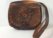 Vintage 70's Shoulder Bag Brown Leather Middle Size Ethnic Boho
