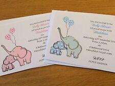 15 Pack Handmade Baby Shower Invitations-   Cute Elephant