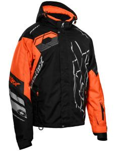 Castle X Mens Code Black/Orange/Silver Jacket Snowmobile Coat M-2XL