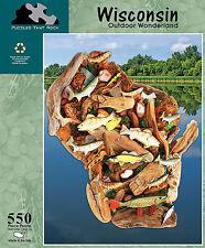 Wisconsin Outdoor Wonderland Fishing 550 pc Jigsaw Puzzle New Sealed Box