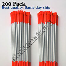 "200 pack 48"" long reflective driveway markers snow plow stakes poles orange"