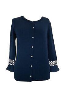 Designer Marc Cain Navy Blue & White Stretch Cardigan Top Sz N2 UK 10-12