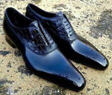 Men's Pure Handmade Crocodile Calf Leather Dress Alligator Designer Shoes