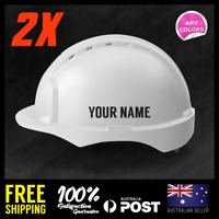 2x Custom Text Personalised Safety Helmet Name 100mm Lettering Decal Sticker
