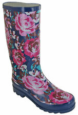 Womens Mudrocks Rubber Wellington Boots Floral 3/4 Flower Print Wellies UK 4-8