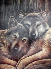 3D Picture Print 'Loyal Companions' 2 Wolves by Lisa Parker Pagan Wiccan NEW