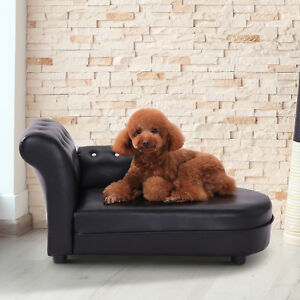 Pawhut Chaise Lounger Dog Cat Puppy Kitty Couch Leather Bed Pet Sofa Black NEW