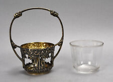 Antique German Art Nouveau Jugenstil 800 Silver Basket Rose Motif Round Handle