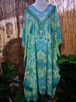 Plus Size Mix Maxi Long Sheer Embellished Kaftan Size 16-18-20 OSFA