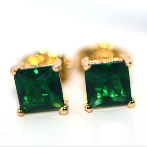Square Green emerald Stone Stud Earrings for Womens Female Gold Filled Jewelry
