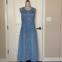Vintage No Excuses Sexy Jeans Denim Button Down Sleeveless Dress M 90s Maxi Snap