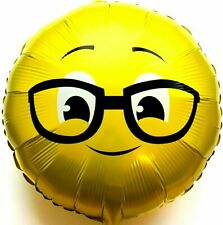 Helium Ballon Feuille Streber Lunettes Emoji Anniversaire de Mariage Cadeau Neuf