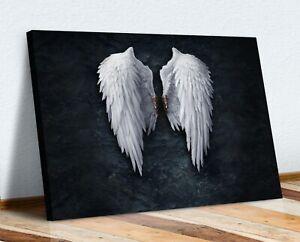 FALLEN BROKEN ANGEL WINGS BANKSY WHITE CANVAS STREET WALL ART PICTURE PRINT  XL