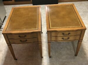 Mid Century End Tables Brass Feet Vintage Leather Top