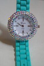 Geneva Mint/White Women's Rhinestone-accented Silicone Fashion Watch