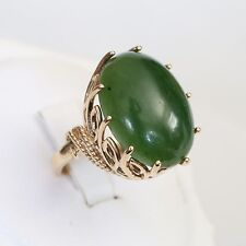 HEAVY SIGNED BOLD RETRO SOLID 10K GOLD 13+ ctw JADE RING, 9.3 g., size 6.25, EXC