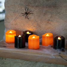 Set of 6 Black and Orange Halloween Battery LED Tea Light Candles by Lights4fun