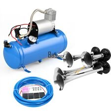 4 Trumpet train car truck Air Horn 12V Compressor 150dB+hose_tank gauge  Kit Set