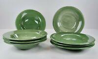 "Pottery Barn Sausalito Green Set of 4 Salad Plates (10.75"") & 4 Soup Bowls (10"")"
